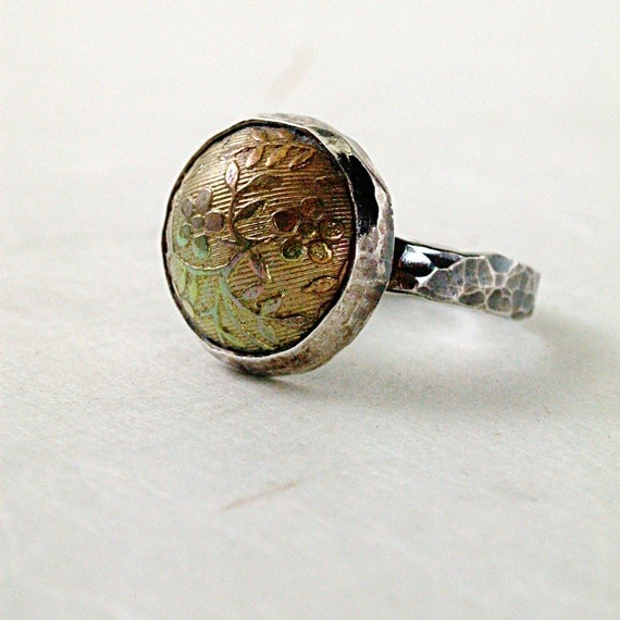 Ring  hammered  Sterling silver  brass Rock Garden floral Spring fashion