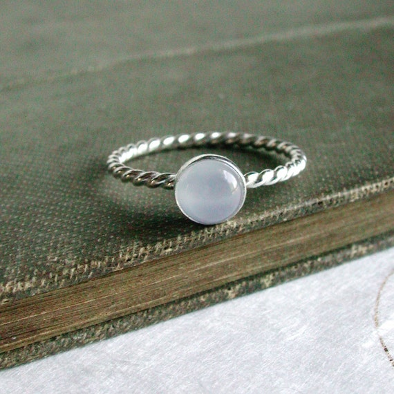 Blue Chalcedony ring Sterling Silver twist Misty Morning