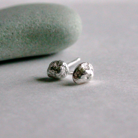 Sterling Silver stud earrings small pebble earrings recycled silver jewelry