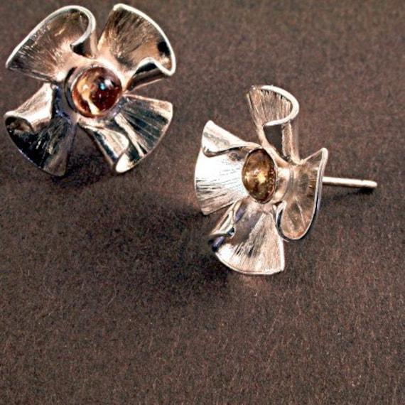 Pinwheels - sterling and citrine earrings