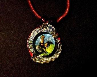 necklaces, Anima Sola, loteria chicken, eye milagro