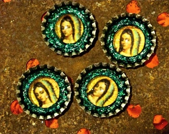 Virgin of Guadalupe bottle caps set of four