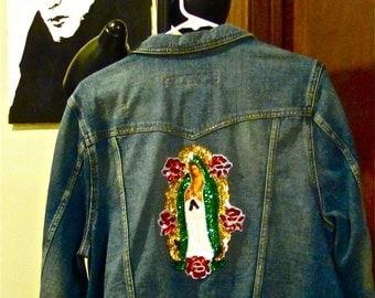 sale on Virgen de Guadalupe Denim Jacket