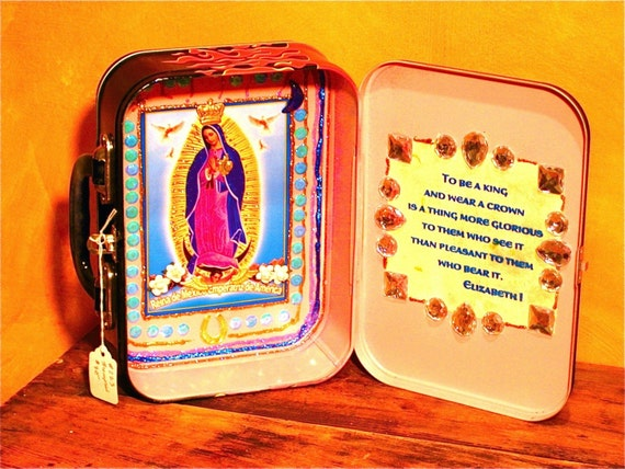 Virgin of Guadalupe Flaming Lunchbox Shrine