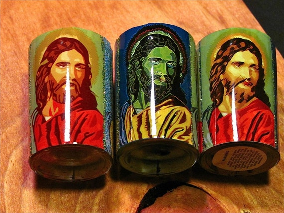 Jesus candles religious kitsch stocking stuffers