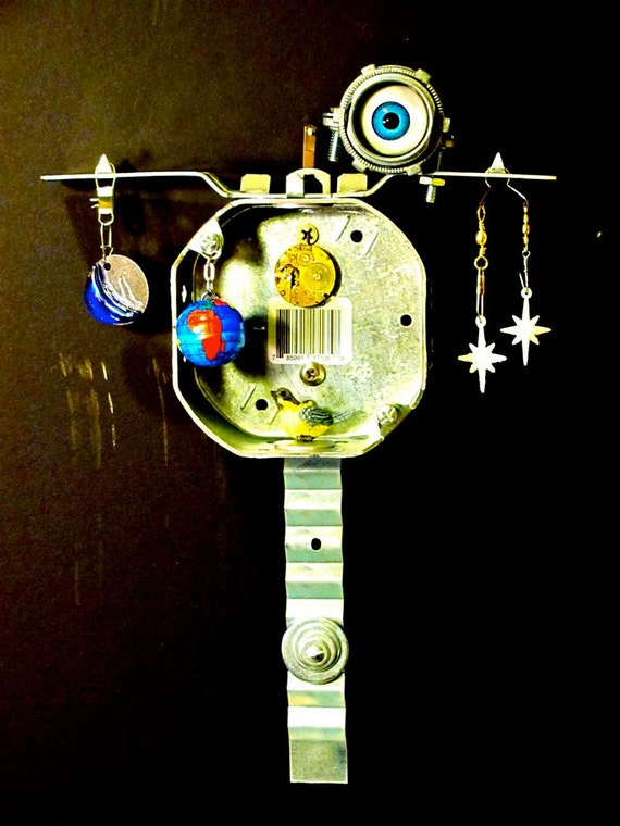 His Eye is on the Sparrow: Assemblage Art Electrical Hardware Deco