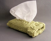 Travel Tissue Sock - Soft Sage Green - Handknit Cotton Top or Side Pull