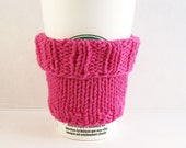 2 in 1 Coffee Cup Cozy Sleeve - Hand Knit - Hot Pink Cotton Knit Fabric - Cuff Up for Grande sized or down for a Short Coffee