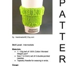 DIY 2 in 1 Coffee Cup Sleeve - Knit PDF Pattern  - DIGITAL Instant Download