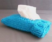 Handknit Travel Tissue Case Sock Hot Blue Cotton Fabric Office Gift for Her under 15