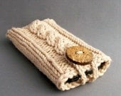 iPhone 6 Case iPhone Samsung Galaxy Note Cozy Sleeve Camel Light Brown Handmade Coconut Button Crocheted Button Loop