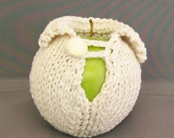 White Apple Cozy, Sweater Fruit Jacket Sleeve, Cream Student Office Cubicle Dorm Boss Back to School