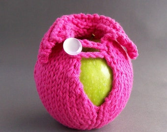 Apple Cozy Jacket Sweater Handknit Hot Pink White Button