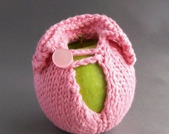 Cozy Apple Jacket Sleeve - Handknit - Rose Pink with Pink Button