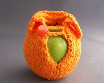 Handknit Cotton Apple Sweater - Hot Orange with Orange Button Harvest Office Gift dorm