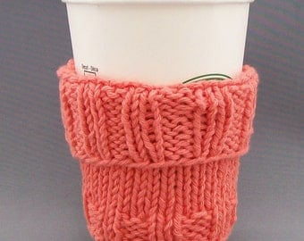 "Coffee Mug Cup Cozy Sleeve - Hand Knit - Honeysuckle Tangerine - fits a ""Short"" or ""Grande"" sized Coffee"