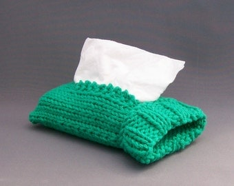 "Handknit Mint Green Travel Tissue Sock Handknit Cotton ""Top"" or ""Side"" Pull"