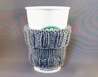 Shark Week Shark Grey Coffee Cup Sleeve Hand Knit Fits a Short or Grande sized Coffee Gift under 20 BONUS Muslin Drawstring Carry Bag