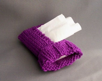 Kleenex Cover Travel Tissue Cozy Handknit Purple Amethyst Cotton Knit Fabric Gift under 20 Back to School Must Have
