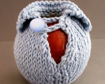 Apple Cozy Jacket Cotton Handknit Baby Blue with White Button Crocheted Loop