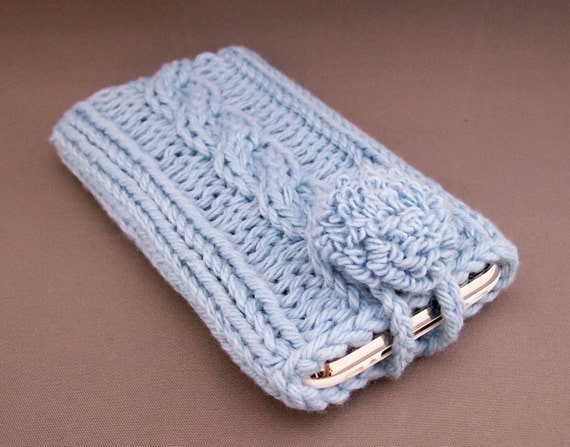 iPhone or Android Cell Phone Case Serenity Blue Cozy Hand Knit Cotton Fabric Punch Embroidered Covered Button Unique Gift Under 25