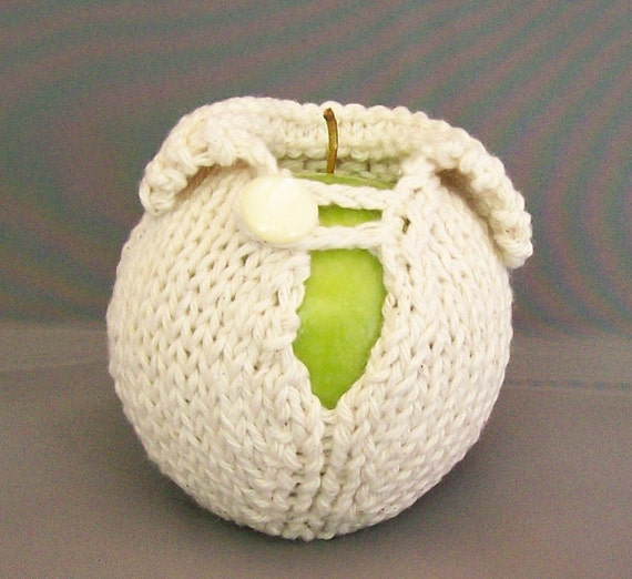 White Apple Cozy, Sweater Fruit Jacket Sleeve, Cream Student Office Cubicle Dorm Boss