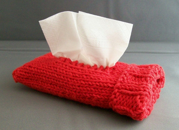 Pocket Travel Tissue Kleenex Case Handknit Red Cotton Top or Side Pull Gift under 20