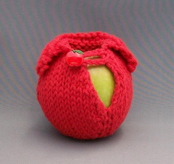 Apple Cozy, Apple Jacket, Knit Apple Wrap, Back to School, Stocking Stuffer, Teacher Gift, Gift Wrap, Crocheted Loop, Apple Button