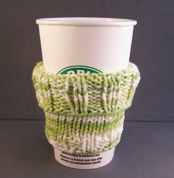 Handmade Coffee Cup Cozy Sleeve  Knit Multi-Green and White fits a Short or Grande Sized Coffee-to-Go BONUS Muslin Drawstring Carry Bag