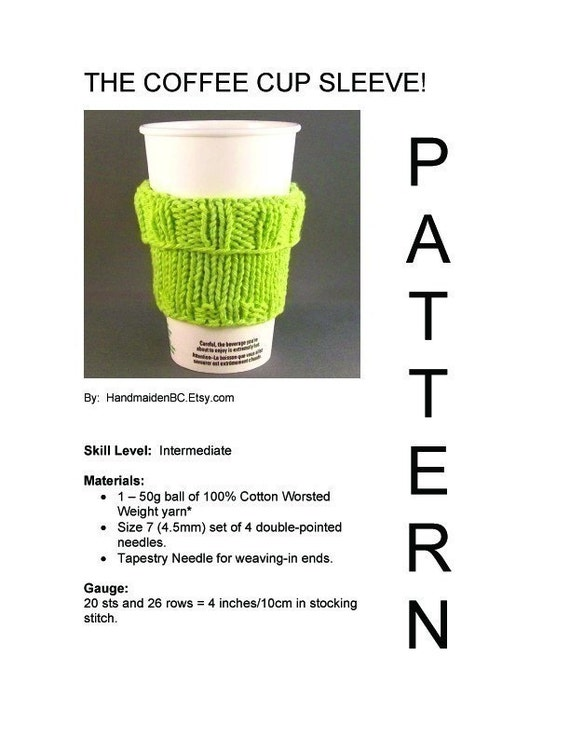 DIY 2 in 1 Coffee Cup Sleeve - Knit PDF Pattern  - DIGITAL Instant Download