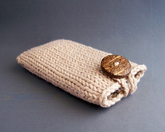 Mobile Cell Phone Case Apple iPhone 4s, 5, 6 Samsung Galaxy s3/s4/s5 Handknit Camel Coconut Button Beige Brown Woodland Harvest Sleeve Knit