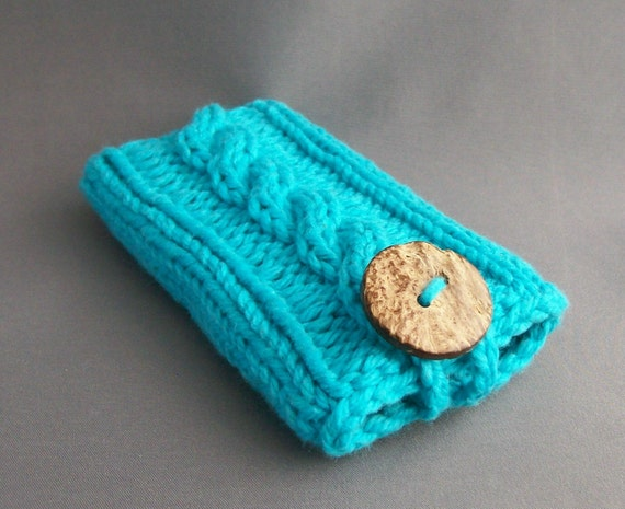 Cell Phone Case for Samsung Galaxy s3 to s7 iPhone  4 to 6/6+ or Samsung Galaxy Notes Blue Coconut Button Crochet Loop Gift under 25
