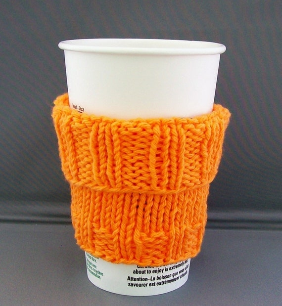 "Coffee Cup Sleeve Cozy Sweater  Hand Knit - Hot Orange fits ""Short"" or ""Grande"" sized Coffee Cup"
