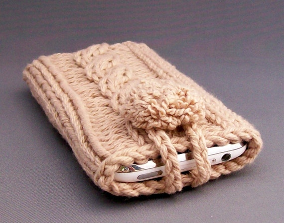 Cell Phone Case for the iPhone 4, 5 or 6 Samsung Galaxy s3. s4, S5,s6,s7 Smart Phone Handknit Crochet Camel Covered Button Gadget Case