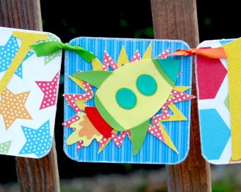 35% off Birthday Banner - Outer Space Garland - Boy Birthday Party