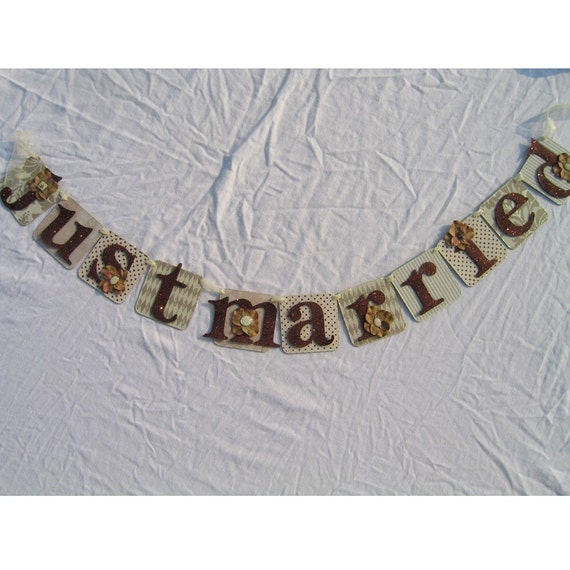 Custom for you Just Married Wedding Banner Wedding Decoration