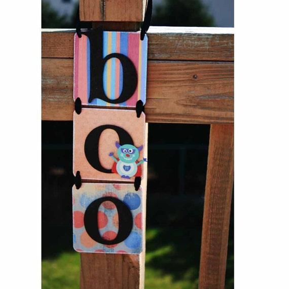 CLEARANCE SALE 50% Off Halloween Decoration - BOO - Hanging Glitter Banner Door Knob Hanger