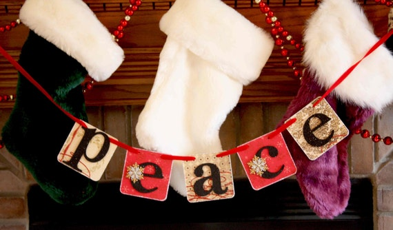 50% discount Christmas Banner - Peace Banner - Christmas Garland