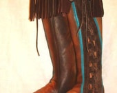 70's Vintage Style Leather Moccasins Hippie Boots Fringed Boot Fringe Moccasin Custom Handmade by Debbie Leather