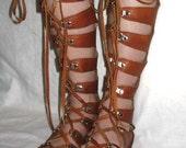 Leather Gladiator Sandals Medieval Renaissance Shoes Handmade Steampunk Sandals Custom Leather Sandals Handmade by Debbie Leather