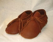 Leather Indian Style Moccasins with Fringe in Rust Deerskin Leather Shoes Custom Handmade by Debbie Leather
