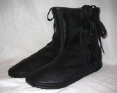 Leather Renaissance Moccasins Leather Boots 7 inch Tall Side Lace Hippie Shoes Medieval LARP Handmade by Debbie Leather