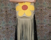 "70's Vintage Style Hippie Purse Giant Bright Daisy Fringed Retro Purse Flower Deerskin Hand Bag  ""FLOWER POWER""Handmade by Debbie Leather"
