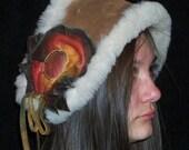 Artisan Made Genuine Sheepskin Headband Leather Beret in Distressed Ruffle Flower Handmade by Debbie Leather