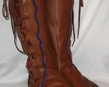 Leather Moccasins Renaissance Boot COMICON Medieval Moccasin Knee High Pirate Steampunk LARP Moccasins Custom Handmade by Debbie Leather