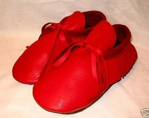 Artisan Made Red Leather Moccasins Custom Leather Indian Style Shoes Handmade by Debbie Leather