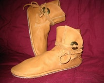 Custom Hand Made Leather Moccasins Native American Style Ankle Wrap in Genuine Leather Handmade by Debbie Leather