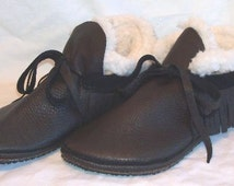 Leather Fringed Moccasins with Fleece Liner Custom Leather Shoes Handmade by Debbie Leather