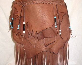 "Handmade Leather Fringed Purse Marsala Brown Deerskin Hobo Handbag with Beads and Fringe ""SCENIC RED ROCKS"" Handmade by Debbie Leather"