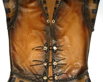 Renaissance Tunic Medieval Jacket  COMICON Steampunk Vest LARP Custom Handmade by Debbie Leather